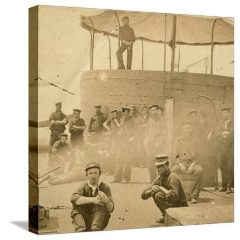 Crew on the Deck of the USS Monitor, 1862-James F^ Gibson-Stretched Canvas Print
