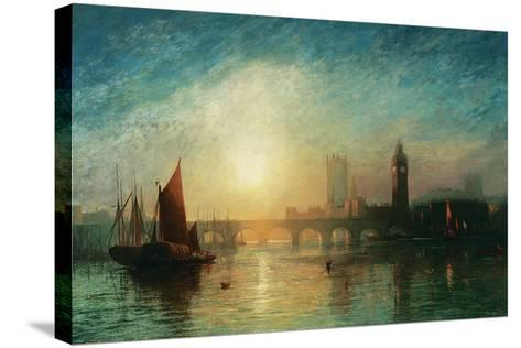 View of Westminster Bridge and the Houses of Parliament-James Francis Danby-Stretched Canvas Print