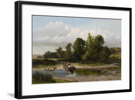 A Ford on the Whitadder, Berwickshire-James Peel-Framed Art Print