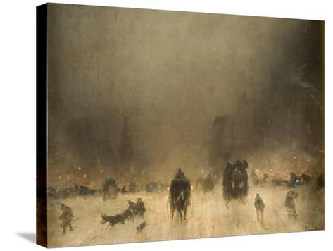 A Foggy Night in London-James Abbott McNeill Whistler-Stretched Canvas Print