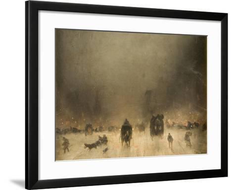 A Foggy Night in London-James Abbott McNeill Whistler-Framed Art Print