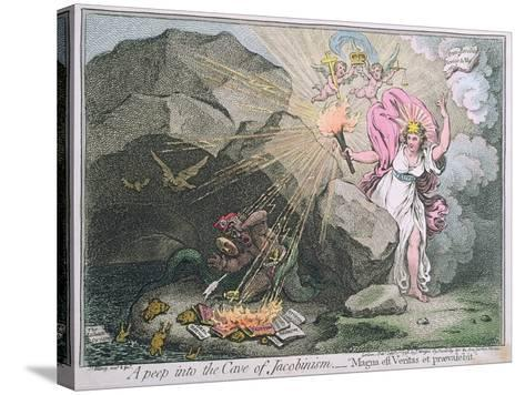 A Peep into the Cave of Jacobinism-James Gillray-Stretched Canvas Print