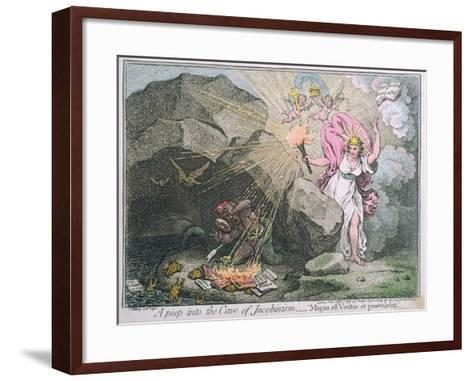 A Peep into the Cave of Jacobinism-James Gillray-Framed Art Print