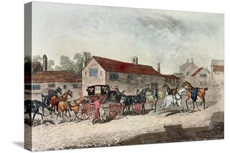 The Mail Coach Changing Horses, Engraved by R. Havell, 1815-James Pollard-Stretched Canvas Print