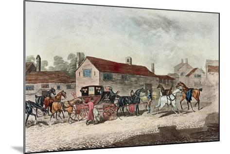 The Mail Coach Changing Horses, Engraved by R. Havell, 1815-James Pollard-Mounted Giclee Print