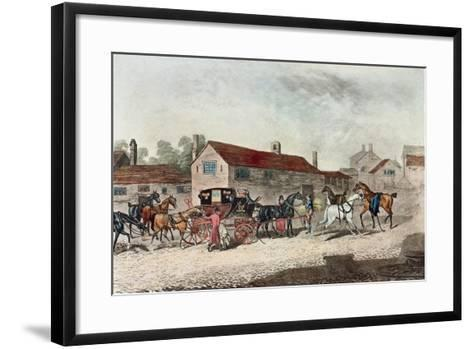 The Mail Coach Changing Horses, Engraved by R. Havell, 1815-James Pollard-Framed Art Print