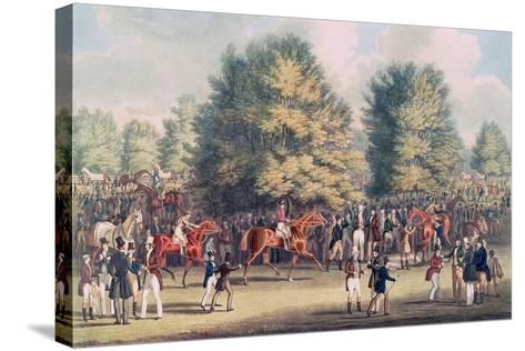 Epsom, Saddling in the Warren-James Pollard-Stretched Canvas Print