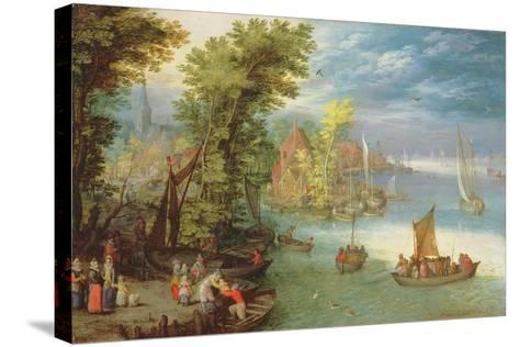 River Landscape with a Village and a Landing, 1612-Jan Brueghel the Elder-Stretched Canvas Print