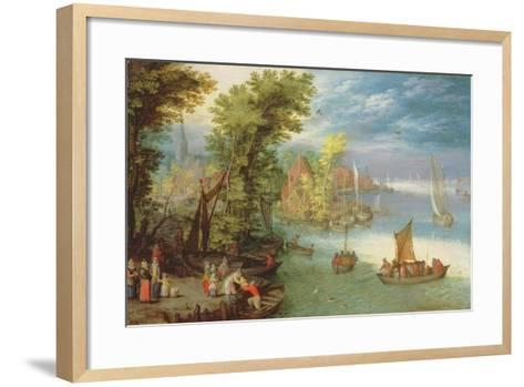 River Landscape with a Village and a Landing, 1612-Jan Brueghel the Elder-Framed Art Print
