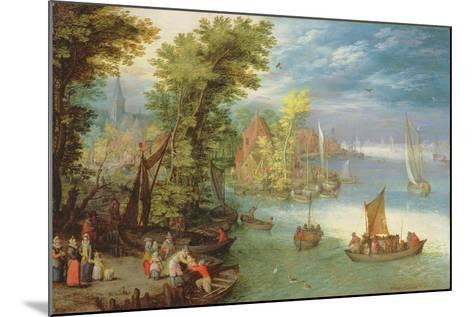 River Landscape with a Village and a Landing, 1612-Jan Brueghel the Elder-Mounted Giclee Print