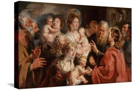 Suffer the Little Children to Come Unto Me, 1615-16-Jacob Jordaens-Stretched Canvas Print