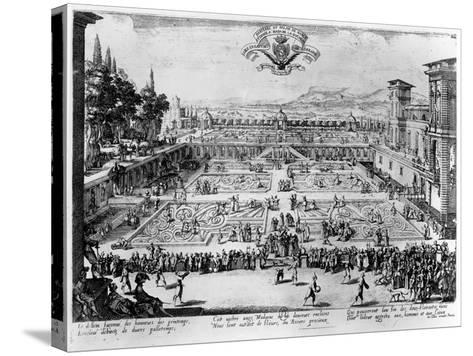 The Garden at the Palais De Nancy, Dedicated to the Duchess of Lorraine, 1624-Jacques Callot-Stretched Canvas Print