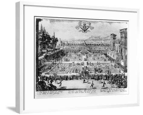 The Garden at the Palais De Nancy, Dedicated to the Duchess of Lorraine, 1624-Jacques Callot-Framed Art Print