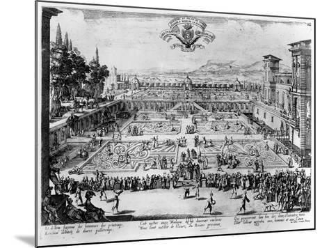 The Garden at the Palais De Nancy, Dedicated to the Duchess of Lorraine, 1624-Jacques Callot-Mounted Giclee Print