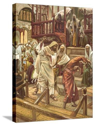 Jesus Heals a Man Possessed by a Demon in the Synagogue for 'La Vie De Notre Seigneur Jesus-Christ'-James Jacques Joseph Tissot-Stretched Canvas Print