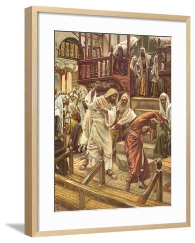 Jesus Heals a Man Possessed by a Demon in the Synagogue for 'La Vie De Notre Seigneur Jesus-Christ'-James Jacques Joseph Tissot-Framed Art Print