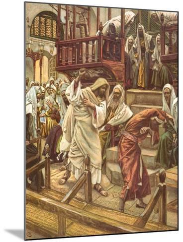 Jesus Heals a Man Possessed by a Demon in the Synagogue for 'La Vie De Notre Seigneur Jesus-Christ'-James Jacques Joseph Tissot-Mounted Giclee Print
