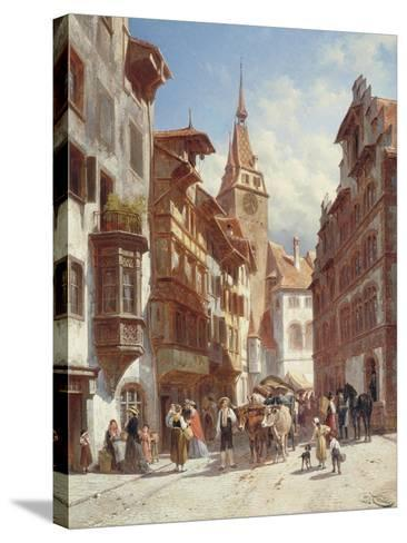 Figures on the Street in Zug, Switzerland, 1880-Jacques Carabain-Stretched Canvas Print