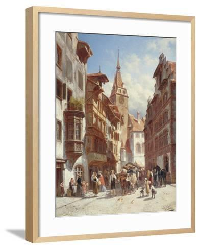 Figures on the Street in Zug, Switzerland, 1880-Jacques Carabain-Framed Art Print