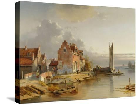 Belgian Riverside, 1858-Jacques Carabain-Stretched Canvas Print