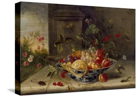 Decorative Still-Life Composition with a Porcelain Bowl, Fruit and Insects-Jan van Kessel the Elder-Stretched Canvas Print
