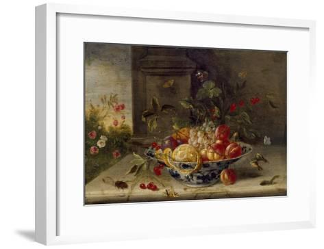 Decorative Still-Life Composition with a Porcelain Bowl, Fruit and Insects-Jan van Kessel the Elder-Framed Art Print