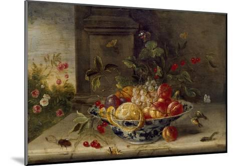 Decorative Still-Life Composition with a Porcelain Bowl, Fruit and Insects-Jan van Kessel the Elder-Mounted Giclee Print