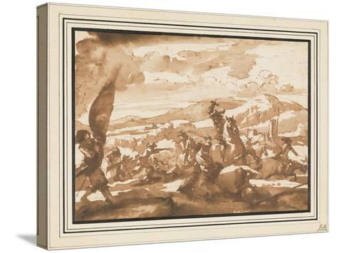 Battle Between Cavalry and Foot Soldiers (Pen and Ink with Brown Wash on Paper)-Jacques Courtois-Stretched Canvas Print