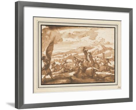 Battle Between Cavalry and Foot Soldiers (Pen and Ink with Brown Wash on Paper)-Jacques Courtois-Framed Art Print