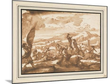 Battle Between Cavalry and Foot Soldiers (Pen and Ink with Brown Wash on Paper)-Jacques Courtois-Mounted Giclee Print