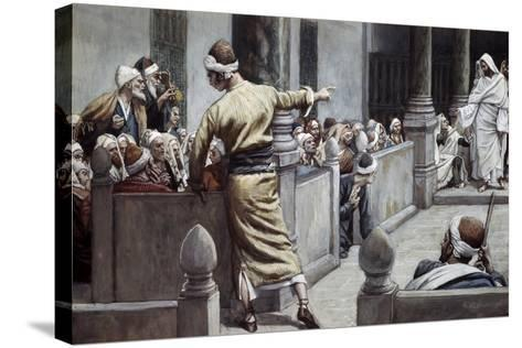 Blind Man Tells His Story to the Jews-James Jacques Joseph Tissot-Stretched Canvas Print