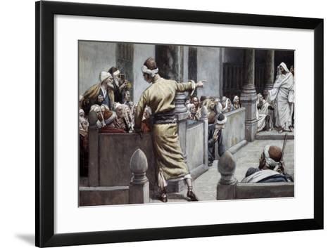 Blind Man Tells His Story to the Jews-James Jacques Joseph Tissot-Framed Art Print