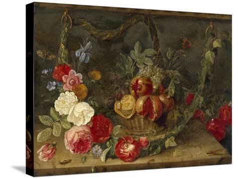 Decorative Still-Life Composition with a Basket of Fruit-Jan van Kessel the Elder-Stretched Canvas Print