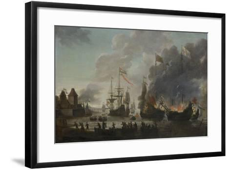 The Dutch Burn English Ships During the Expedition to Chatham-Jan van Leyden-Framed Art Print