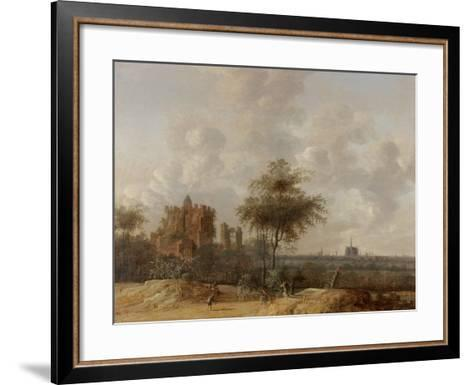Landscape with the Ruined Castle of Brederode and a Distant View of Haarlem, 1655-Jacob Van der Croos-Framed Art Print