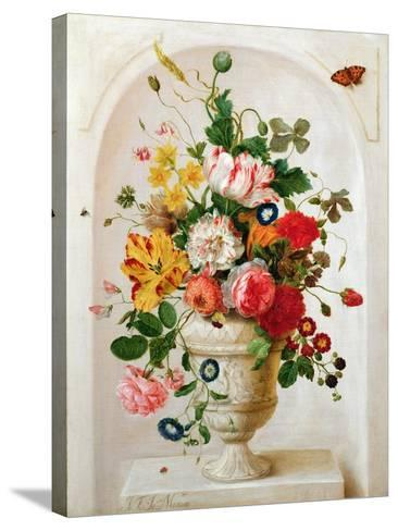 An Urn of Flowers in an Alcove-Jan Frans Josephus Mertens-Stretched Canvas Print