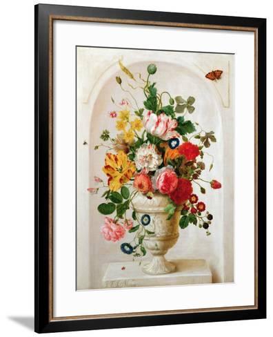 An Urn of Flowers in an Alcove-Jan Frans Josephus Mertens-Framed Art Print