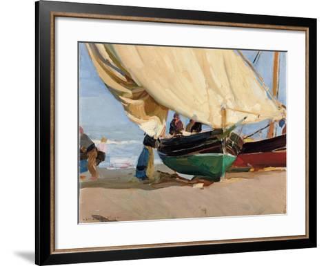 Fishermen, Stranded Boats, Valencia; Pescadores, Barcas Varadas, Valencia-Joaquin Sorolla y Bastida-Framed Art Print