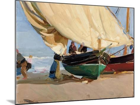 Fishermen, Stranded Boats, Valencia; Pescadores, Barcas Varadas, Valencia-Joaquin Sorolla y Bastida-Mounted Giclee Print
