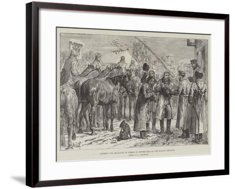 Stopping the Transport of Horses at Novoselitza, on the Russian Frontier-Johann Nepomuk Schonberg-Framed Art Print