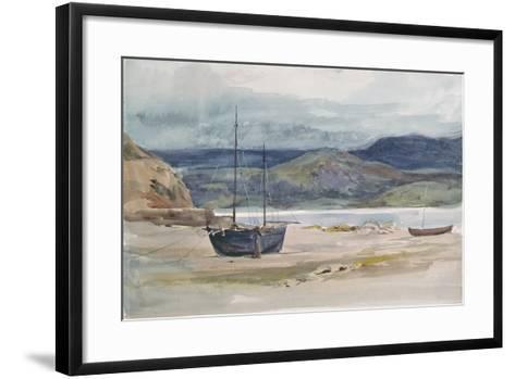 Hilly Coast Scene with Boats, 19th Century-John Absolon-Framed Art Print