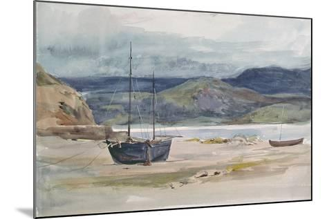 Hilly Coast Scene with Boats, 19th Century-John Absolon-Mounted Giclee Print
