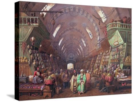 A Bazaar in Constantinople, 1873-Jean Brindesi-Stretched Canvas Print
