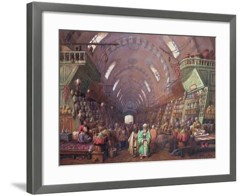 A Bazaar in Constantinople, 1873-Jean Brindesi-Framed Art Print