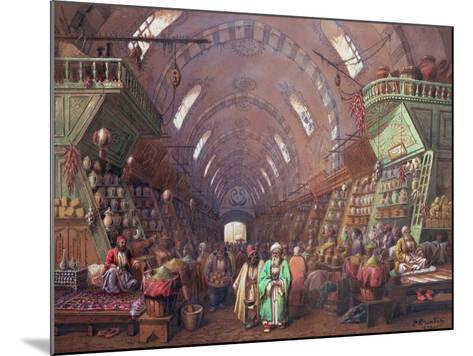 A Bazaar in Constantinople, 1873-Jean Brindesi-Mounted Giclee Print