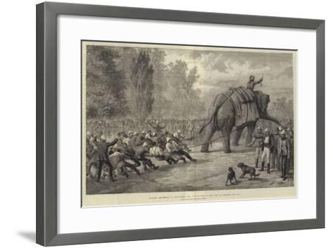 Military Amusements in Afghanistan, the Tug of War in the Camp at Gundamuk-Johann Nepomuk Schonberg-Framed Art Print