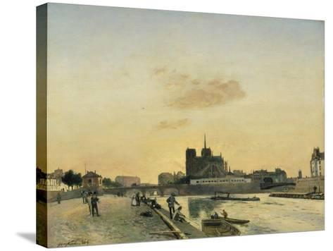 View of Notre Dame, Paris, 1864-Johan-Barthold Jongkind-Stretched Canvas Print