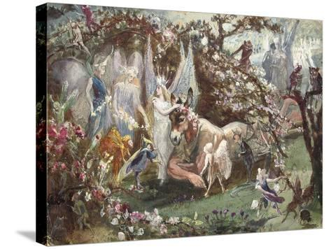 Titania and Bottom from William Shakespeare's 'A Midsummer-Night's Dream'-John Anster Fitzgerald-Stretched Canvas Print
