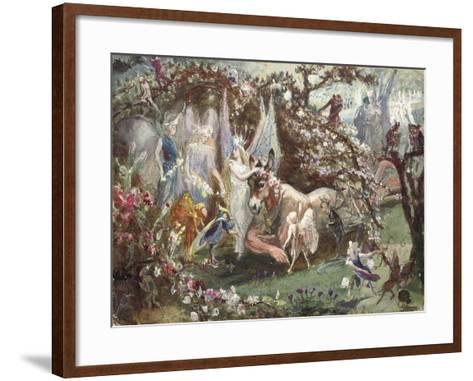 Titania and Bottom from William Shakespeare's 'A Midsummer-Night's Dream'-John Anster Fitzgerald-Framed Art Print