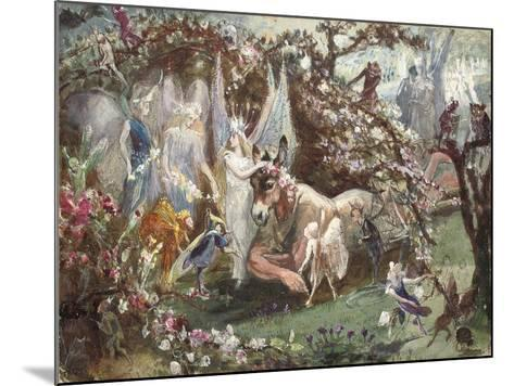 Titania and Bottom from William Shakespeare's 'A Midsummer-Night's Dream'-John Anster Fitzgerald-Mounted Giclee Print